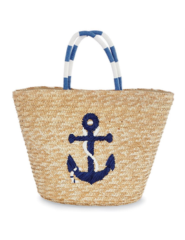 TOTE BAG SEA STRAW TOTE - NAVY ANCHOR