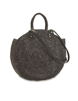 TOTE BAG WOVEN LARGE CIRCLE STRAW TOTE BAG IN BLACK