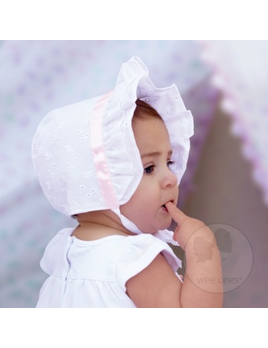HAT GIRLS SATIN TRIM EYELET BONNET