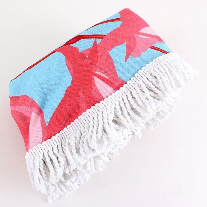 Towel FLAMINGO ROUND FRINGED BEACH TOWEL