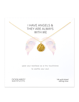 NECKLACE I Have Angels, Mini Angel Coin Necklace - Gold