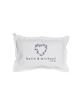 PILLOW PERSONALIZED NAME + DATE HEART LAURELS RECTANGLE PILLOW