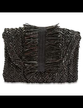 CLUTCH GROSGRAIN FRINGE SEAGRASS CLUTCH BAG IN BLACK