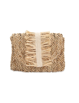 CLUTCH GROSGRAIN FRINGE SEAGRASS CLUTCH BAG IN NATURAL
