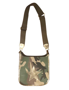 CROSSBODY BAG MILITARY CAMO CANVAS MESSENGER WITH DISTRESSED LEATHER GOLD STAR