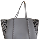 TOTE BAG GREY PERFORATED TOTE WITH LEOPARD SIDES