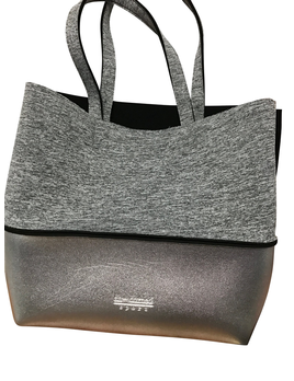 TOTE BAG GREY MARLE & SILVER NEOPRENE TOTE WITH SILVER POUCH