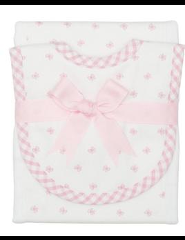 BURP CLOTH Pink Bow Drooler Bib & Burp Set