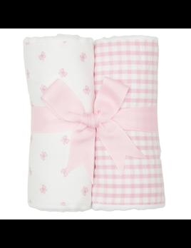 BURP CLOTH Pink Bow Set of Two Burp Cloths