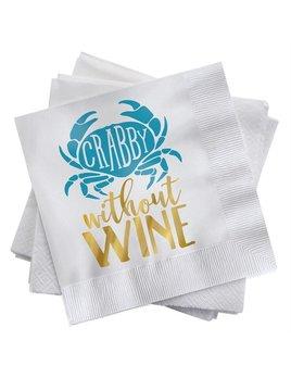 Beach Happy Hour Napkin Set - Crabby Without Wine