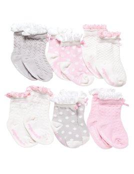 BABY SOCKS Girls Peek-a-Boo Socks - 6 Pack
