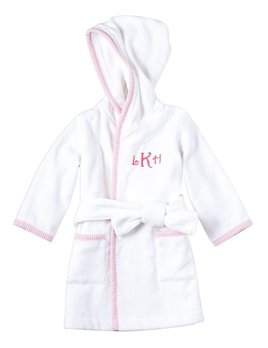 ROBE Monogramed Pink Seersucker Hooded Robe