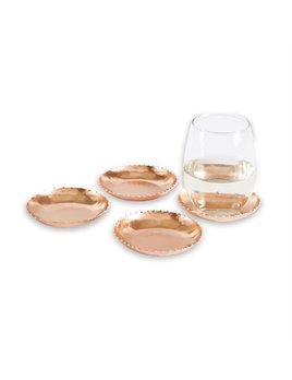 COASTERS Copper Beaded Tin Coaster Set