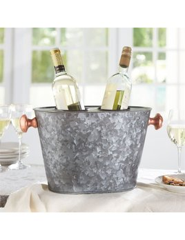 BUCKET PERSONALIZED COPPER HANDLE DOUBLE WINE COOLER