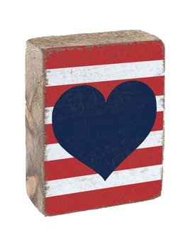 Sign Tumbling Block -  Red & White Striped, Navy Heart