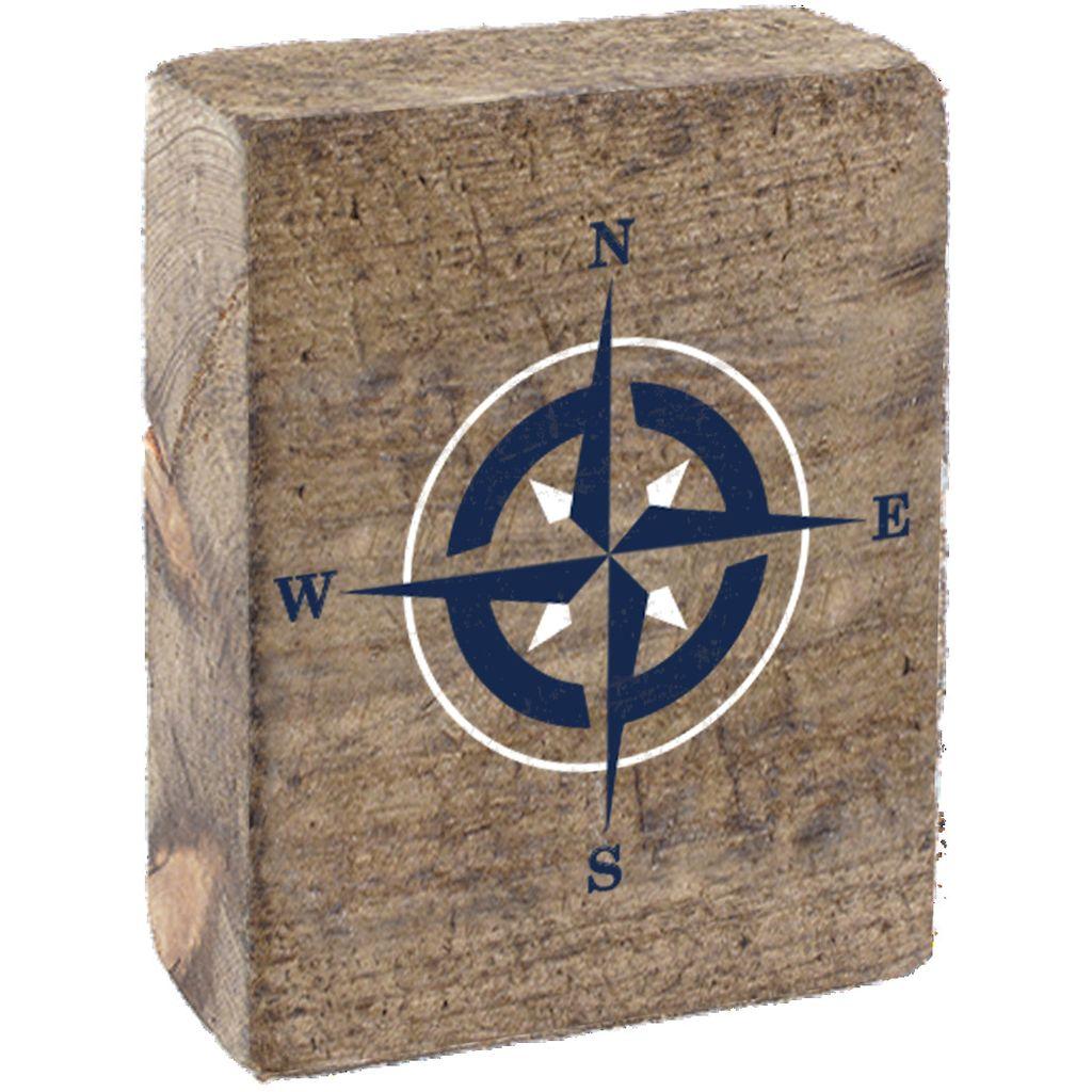 Natural Tumbling Block, White & Navy Compass Rose