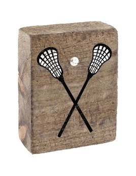 Natural Tumbling Block, Black & White Lacrosse Sticks