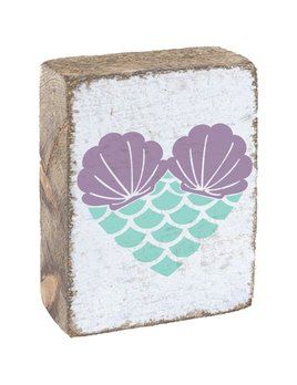 White Tumbling Block, Sea Glass & Lavender Mermaid Heart