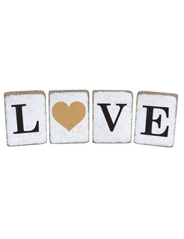 BLOCKS Rustic Block Bundle Love Heart Antique - White, Black, Gold - Set of 4