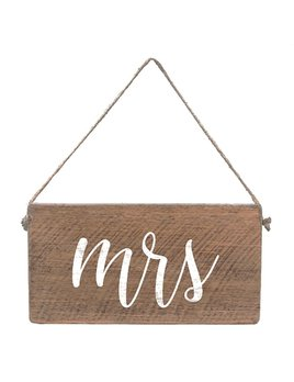 Sign Mini Plank - Mrs - Natural with White