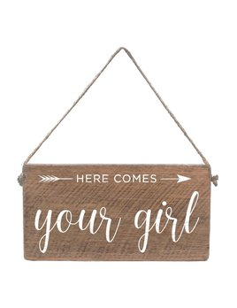 Sign Mini Plank - Here Comes Your Girl - Natural with White