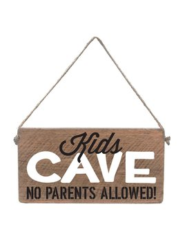 Sign Mini Plank - Kids Cave - Natural with White and Black