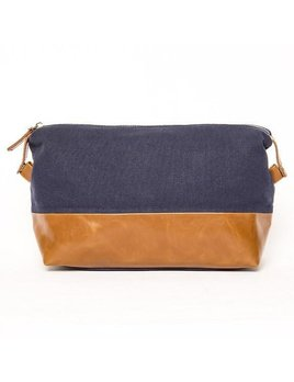 Toiletry Bag Original Toiletry Bag - Navy with Camel Leather Bottom