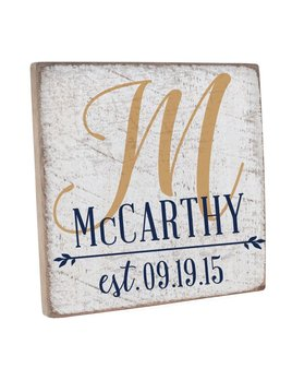 Personalized Wedding Monogram Vintage Square