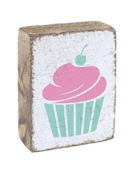 White Tumbling Block, Pink/Sea Glass Cupcake