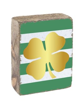 BLOCKS RUSTIC BLOCK - GOLD CLOVER WITH STRIPED BACKGROUND