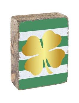 Green & White Tumbling Block, Gold Clover
