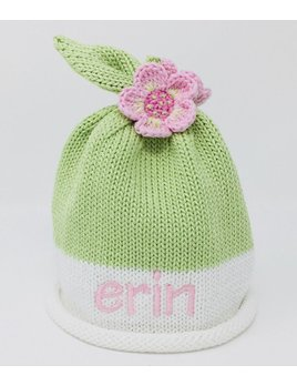 HAT Green White Roll Knit Hat