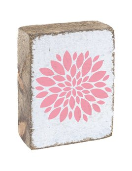 White Tumbling Block, Pink Bloom