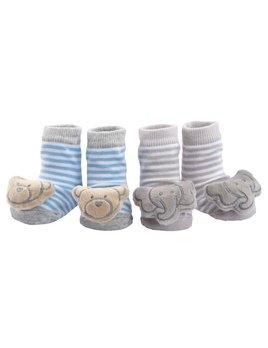 Bear/Elephant Rattle Socks - Set of 2