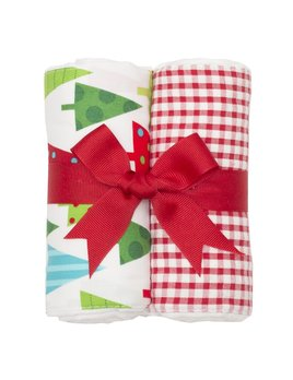BURP CLOTH Christmas Reindeer Set of Two Burp Cloths