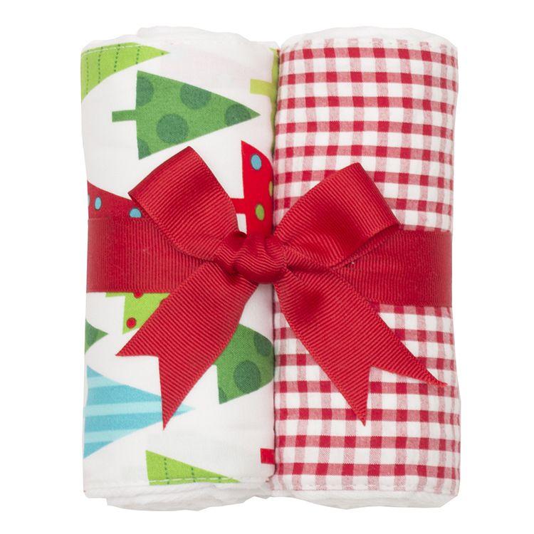 BURP CLOTH Christmas Reindeer Set of Two Burp Cloths
