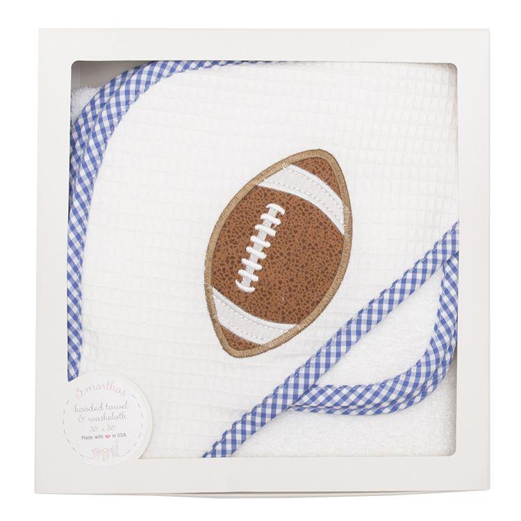 Towel Blue Football Hooded Towel & Washcloth Set