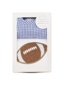 BURP CLOTH Blue Football Bib & Burp Boxed Set