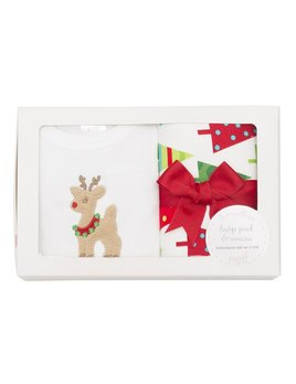 Christmas Reindeer Onesie & Burp Box Set