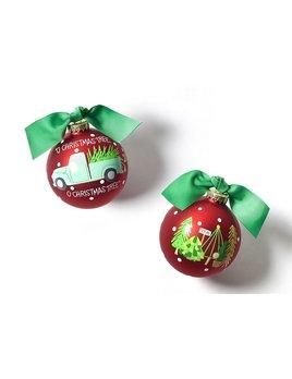 O Christmas Tree Farm Glass Ornament