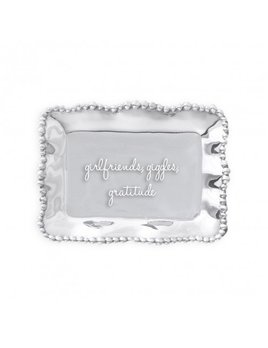 TRAY Pearl Rectangle Engraved Tray - Girlfriends, Giggles, Gratitude