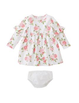 DRESS Floral Ruffle Dress & Bloomer Set