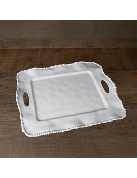 TRAY Vida Alegria Rectangle Tray with Handles White