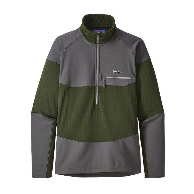 Patagonia Men's Long-Sleeved R1® Fitz Roy 1/4-Zip<br /> Nomad Green