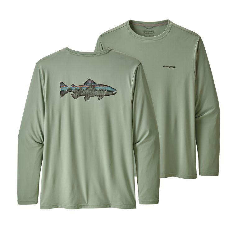 Patagonia Men's Long-Sleeved Capilene® Cool Daily Fish Graphic Shirt   Celadon