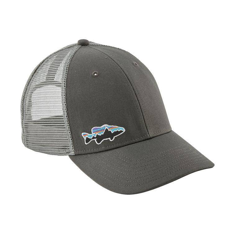 Closer-fitting trucker-style hat with an organic cotton front, mesh back, adjustable snap closure and embroidered logo.