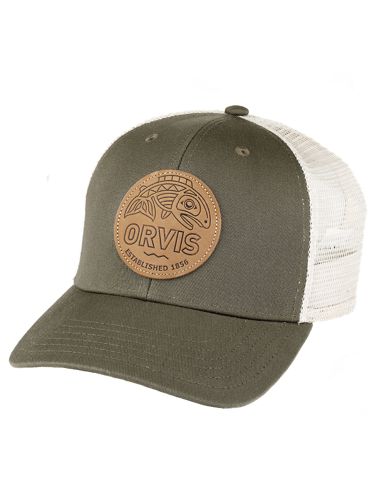 Orvis Cascadia Leather Patch Trucker…Olive