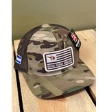 Feast your eyes on the coolest Flag patch Camo Trucker hat to ever hit the water!