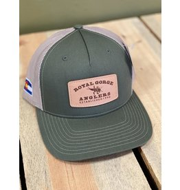 Stonebug Leather Patch Trucker (Army Olive/ Tan)