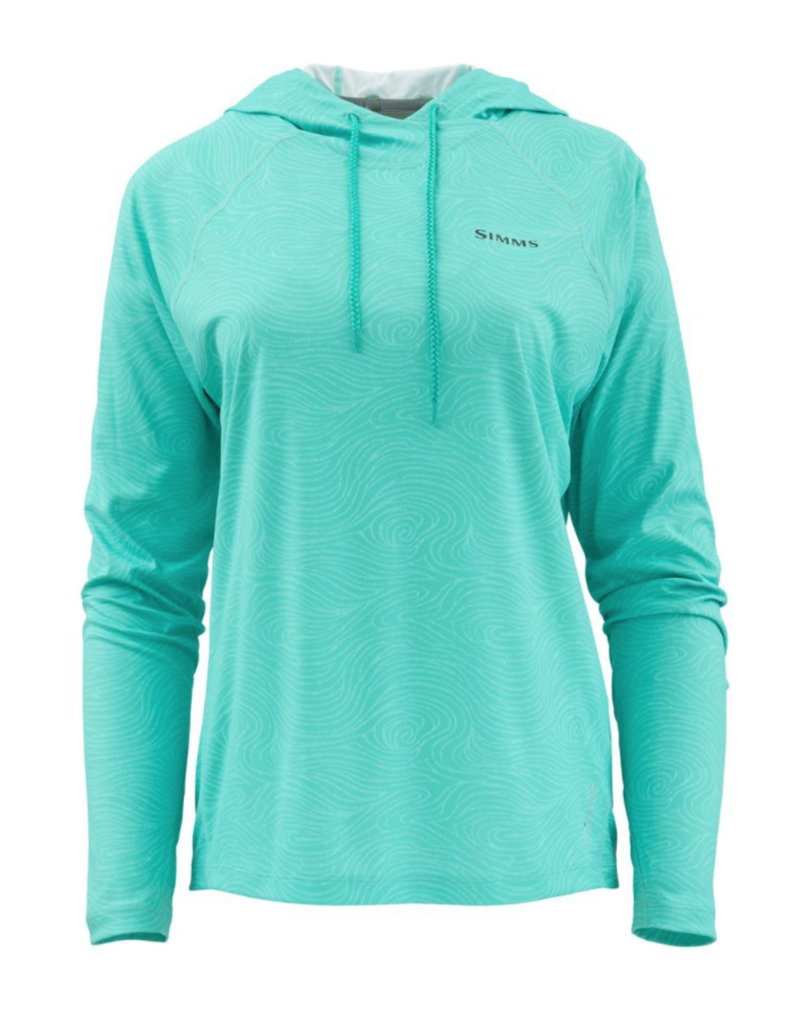 A fashionable print hoodie that wicks moisture and provides sun protection.